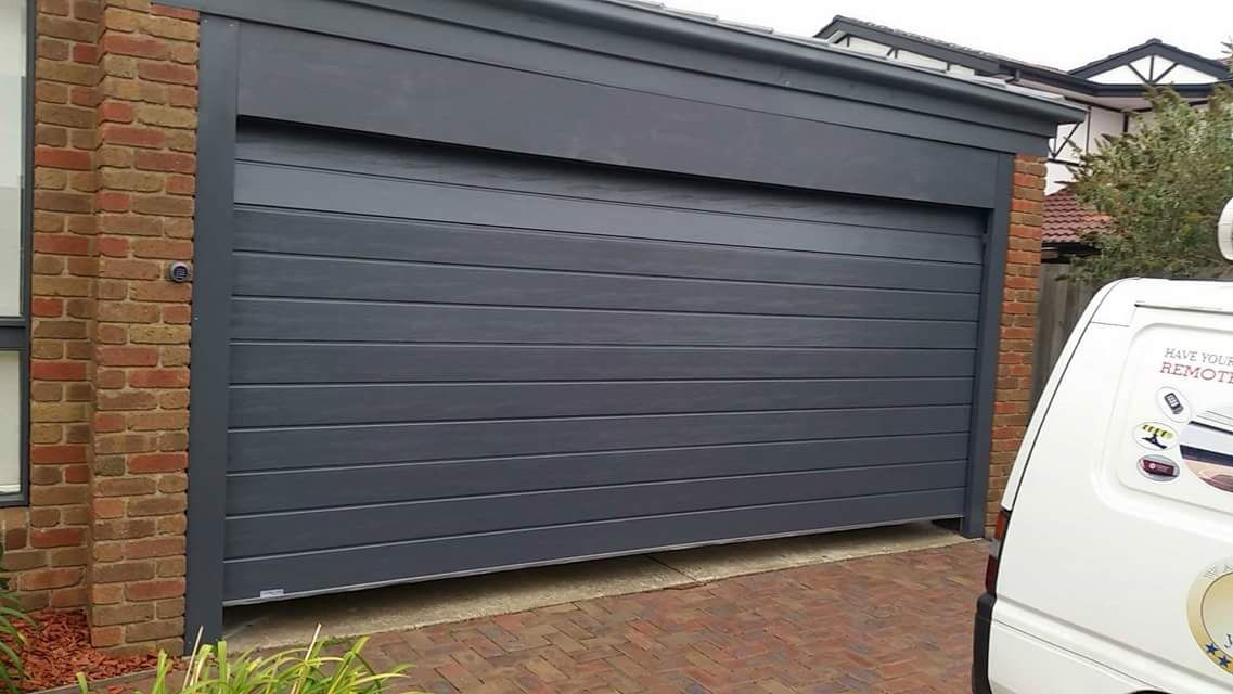 Ironstone, slimline design, sectional garage door - textured finish